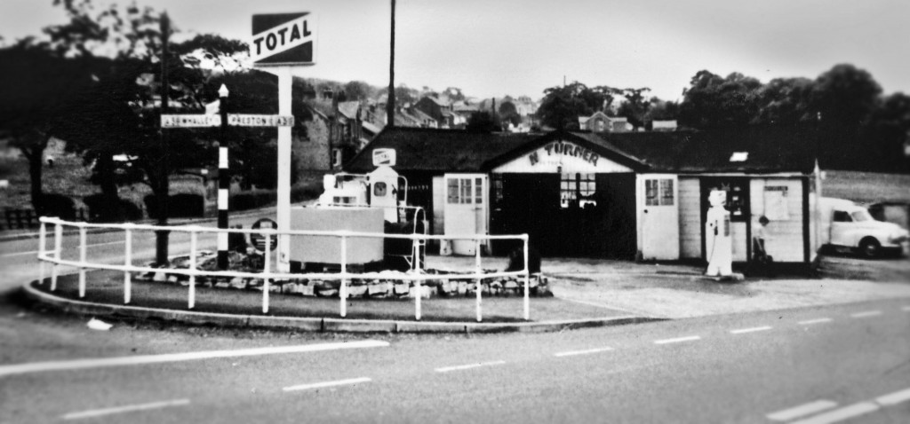 The garage, circa 1958, shows the old intersection between the A666 and the A59, before the roundabout was built